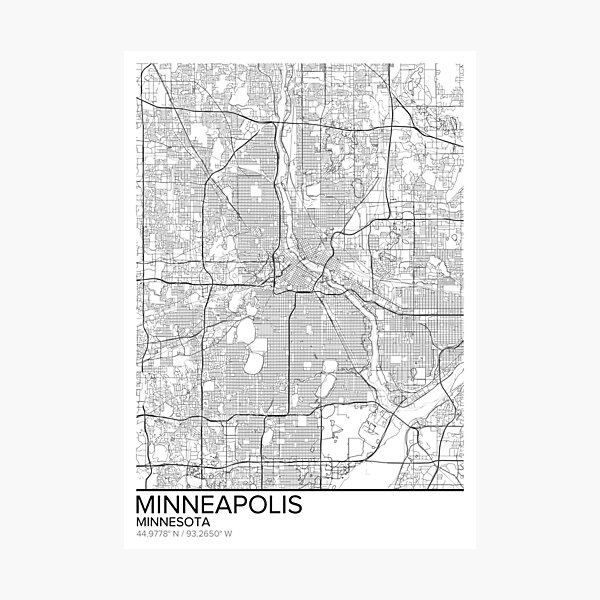 Minneapolis map poster print wall art, Minnesota gift, Home and Nursery, Modern map decor for office, Map Art, Map Gifts Photographic Print