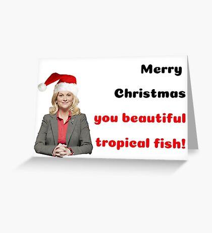 Tarjeta de Navidad de parques y recreación, Leslie Knope, Ron Swanson, tarjeta de Navidad, citas, regalos, tarjetas de felicitación Meme Tarjeta de felicitación
