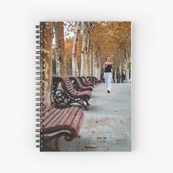 Girl Jogging in Barcelona Park Spiral Notebook