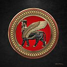 Assyrian Winged Bull - Gold and Black Lamassu on Red and Gold Medallion over Black Leather by Serge Averbukh
