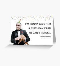 Don Corleone, The Godfather, Funny Birthday card, Mafia birthday card, Ginger cat birthday card, Quotes, Gifts, sticker. Meme greeting cards Greeting Card