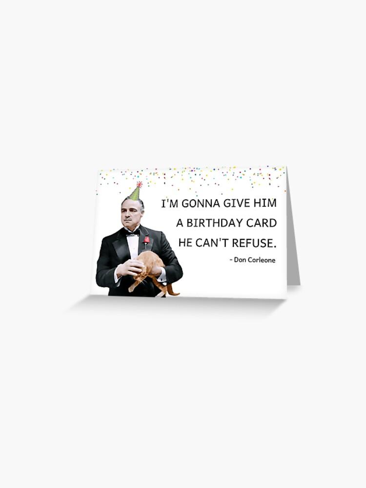 Don Corleone The Godfather Funny Birthday Card Mafia Ginger Cat