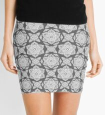 Floral Lotus Mandala - Grey and White Mini Skirt