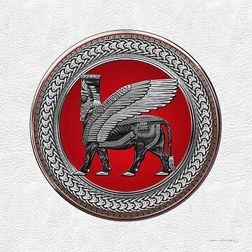 Assyrian Winged Bull - Silver and Black Lamassu on Red Silver Medallion over White Leather by Captain7