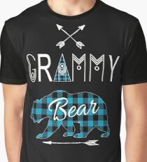 Grammy Bear Blue Buffalo Plaid Family Christmas Camping Gift Graphic T-Shirt