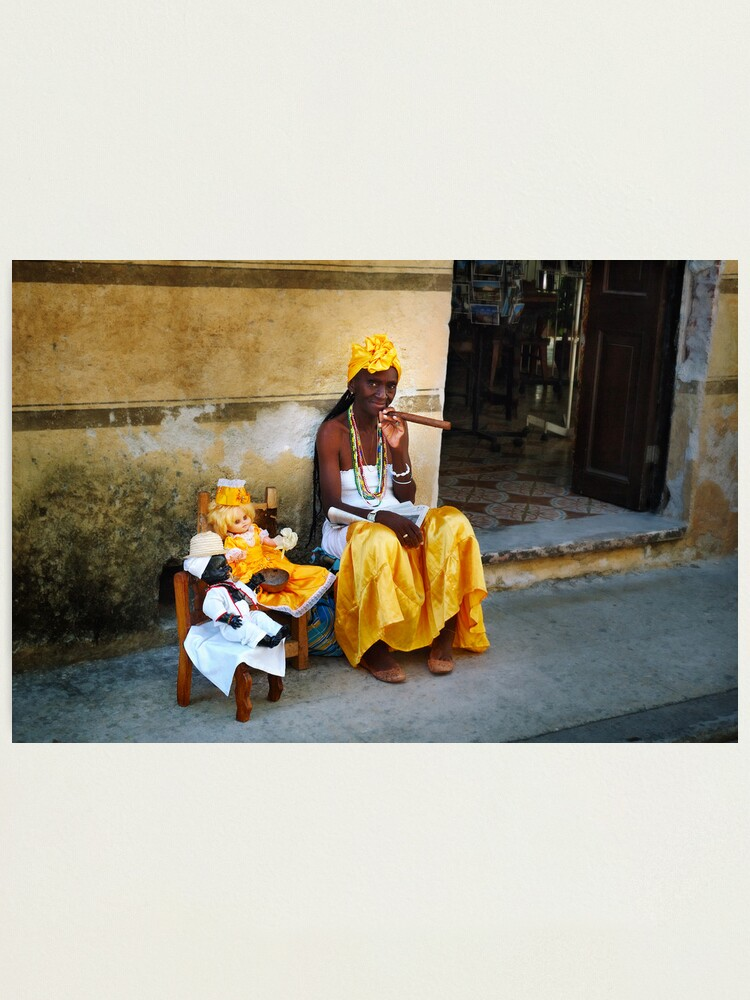 Alternate view of Cuban Santera Smoking Big Cigar Photographic Print
