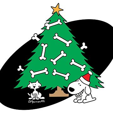 Pup and Cat with a Christmas Tree by CharleyBarsotti