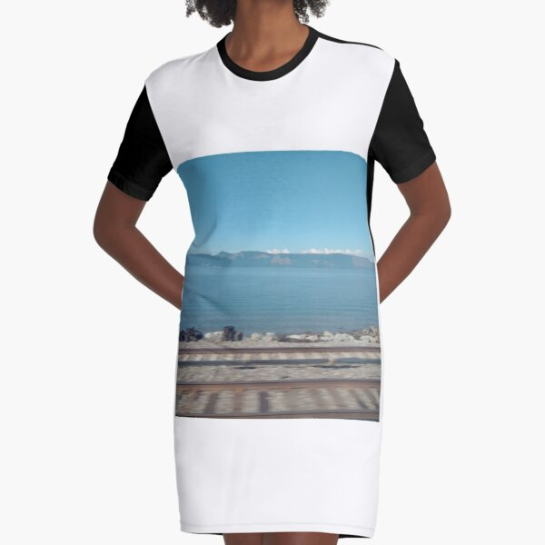 #horizon #water #landscape #sea #beach #outdoors #sky #horizontal #colorimage #coastline #coastalfeature #watersedge #nopeople #day #nonurbanscene Graphic T-Shirt Dress