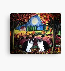 Two Cats and The Moon Canvas Print
