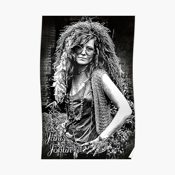 Janis Joplin Black and White Music Art Print Poster 24x36 inch