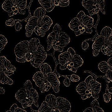 Flowers orchids ornament gold seamless pattern, stylish texture. Gold trendy glitter floral print on black background by fuzzyfox