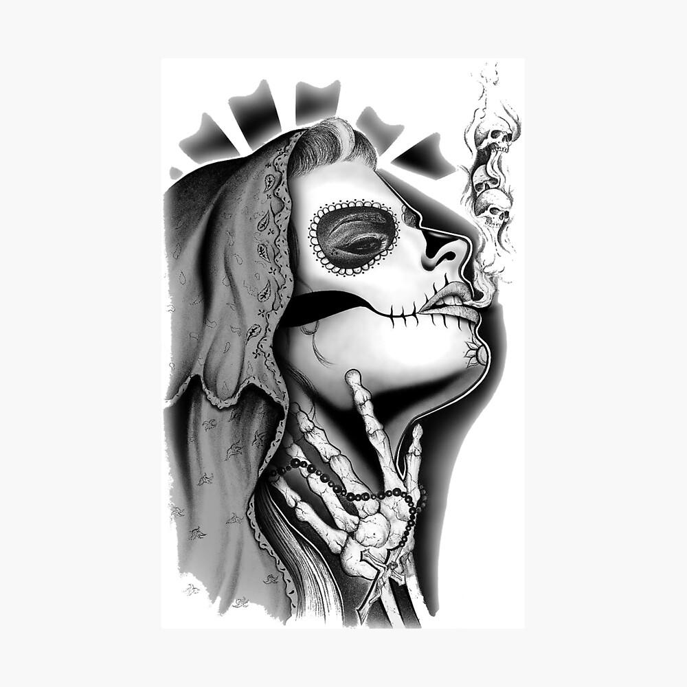 420 Mary Design Chicano Tattoo Art Poster By Kulturala Redbubble