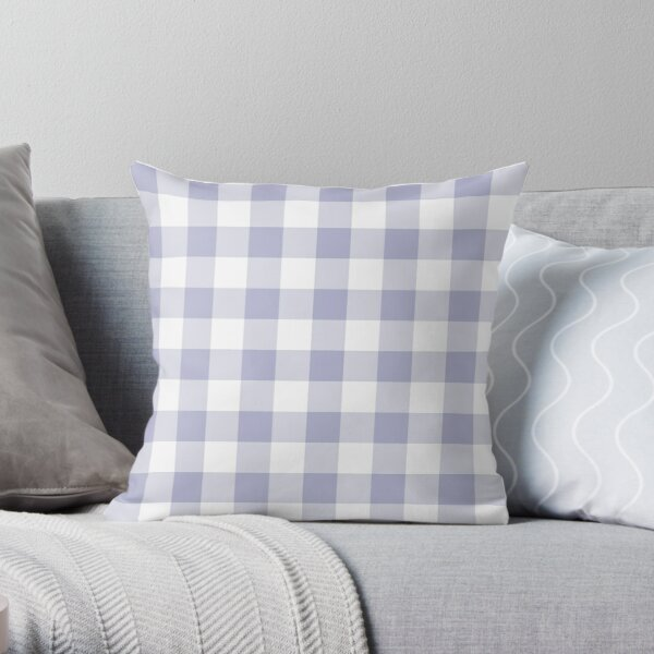 Lavender and White Gingham Throw Pillow