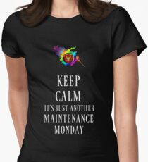 Keep Calm, Maintenace Monday New White Women's Fitted T-Shirt