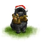 Newfie Puppy in a Santa Hat by Patricia Reeder Eubank