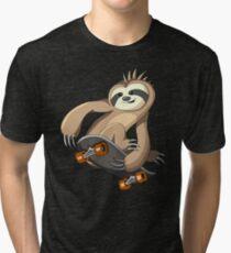 Punk Sloth Skater Skateboarding Tri-blend T-Shirt