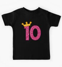 Happy Birthday Art, Girls 10th Party 10 Years Old Bday Kids Tee
