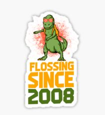 Flossing since 2008 Dinosaur gift Sticker