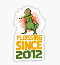 Flossing since 2012 Dinosaur gift Sticker