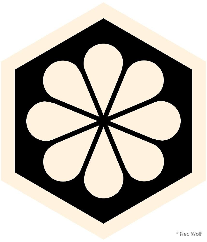 Geometric Pattern: Hexagon Flower: Cream/Black by * Red Wolf