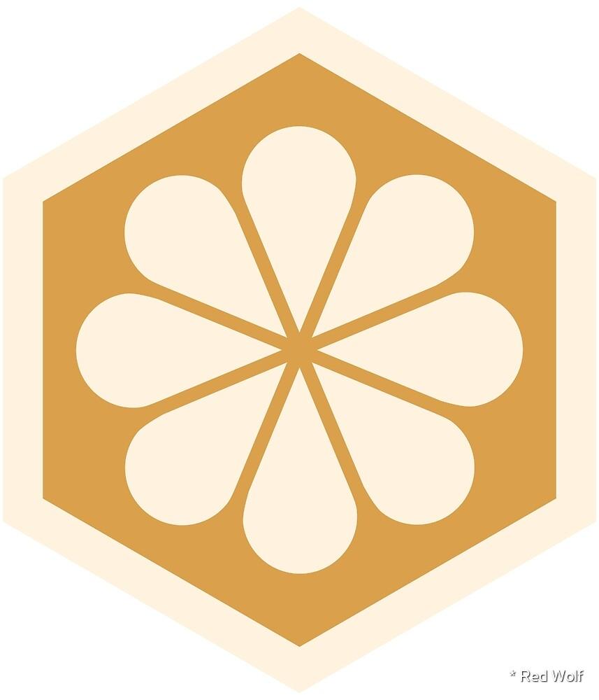 Geometric Pattern: Hexagon Flower: Cream/Gold by * Red Wolf