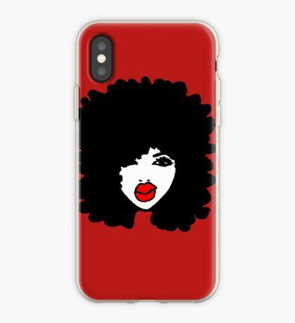 Natürliches Haar Afro kräuselt rote Lippenstift-Make-upkönigin iPhone-Hülle & Cover