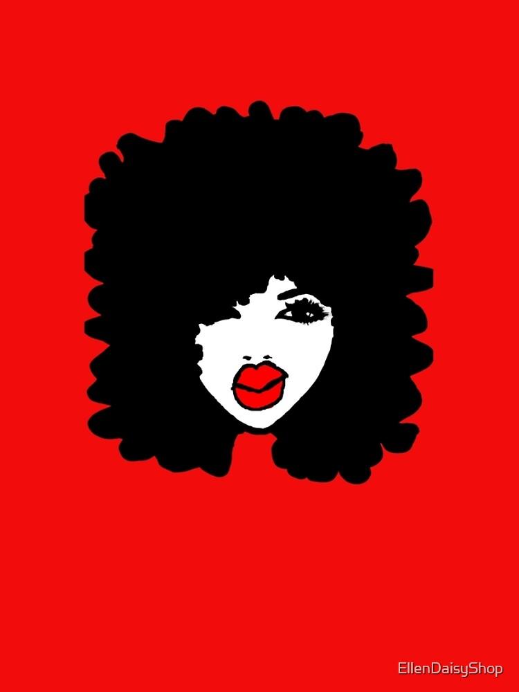 Natural Hair Afro Curls Red Lipstick Makeup Queen by EllenDaisyShop