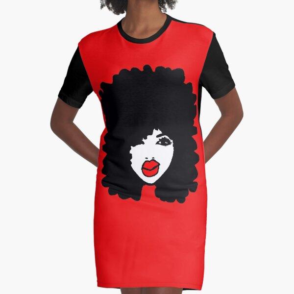 Natural Hair Afro Curls Red Lipstick Makeup Queen Graphic T-Shirt Dress