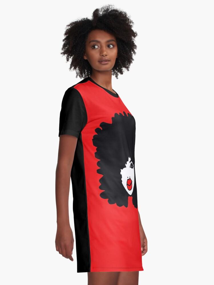 Alternate view of Natural Hair Afro Curls Red Lipstick Makeup Queen Graphic T-Shirt Dress