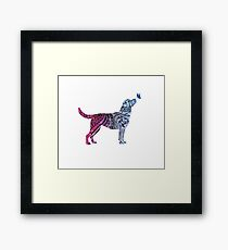 Dog & butterfly Framed Print
