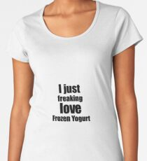 Frozen Yogurt Lover Gift I Love Dessert Funny Foodie Women's Premium T-Shirt