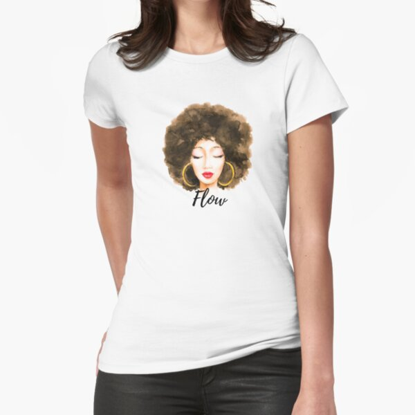 Natural curly hair melanin watercolor  Fitted T-Shirt