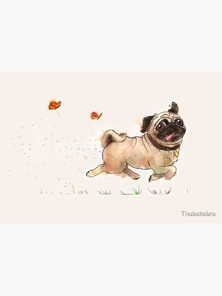 The Furminator Pug Watercolor Design in Beige Color by Thubakabra
