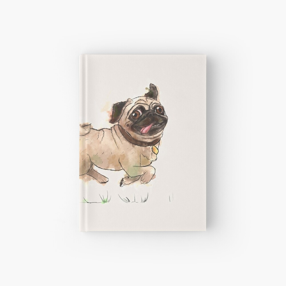 The Furminator Pug Watercolor Design in Beige Color Hardcover Journal