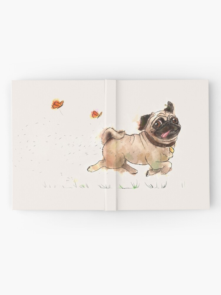 Alternate view of The Furminator Pug Watercolor Design in Beige Color Hardcover Journal