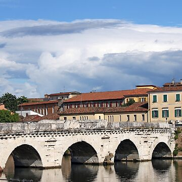 old Tiberius bridge landmark Rimini Italy by goceris