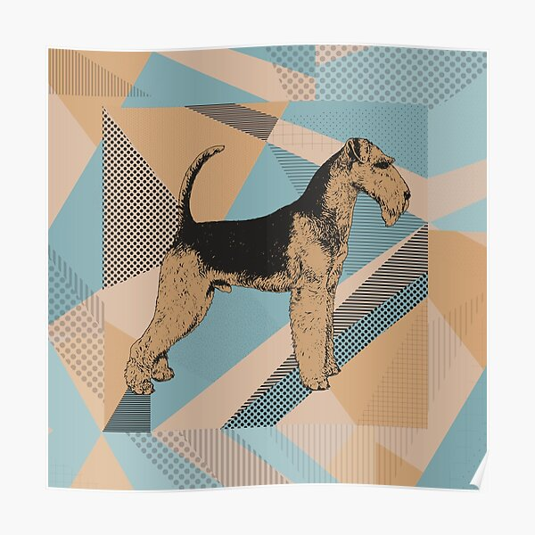 Airedale Terrier Geometric Abstract Poster