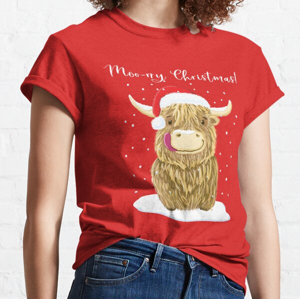 Scottish Highland Cow, Moo-rry Christmas Wee Hamish Classic T-Shirt