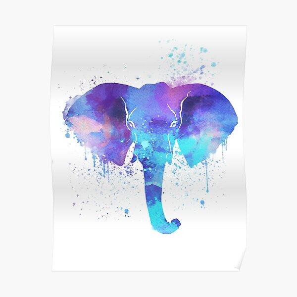 Watercolor Elephant Design | Bright Blue and Purple Elephant Art  Poster