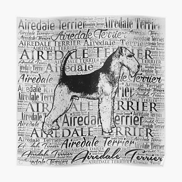 Airedale Terrier Monotone Word Art Ink Poster