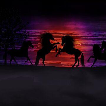 Sunset Horses by dawnmvd
