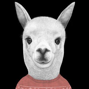 Lama in a sweater on black by kodamorkovkart