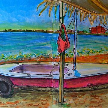 Watercolor Sketch - a Sailboat in Sicily by IgorPozdnyakov