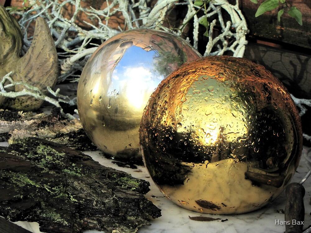 Christmas balls after rain by Hans Bax