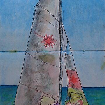 Watercolor Sketch - a Sailboat on a Beach in Sicily by IgorPozdnyakov