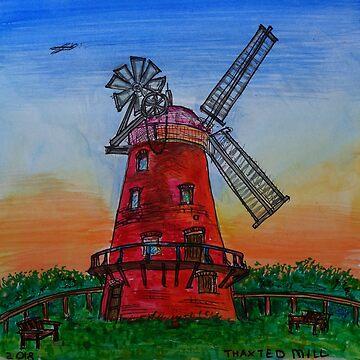Watercolor Sketch - Thaxted Windmill, Essex 2018 by IgorPozdnyakov