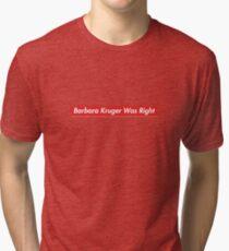 Camiseta de tejido mixto Ley patriota Hasan Minhaj Barbara Kruger tenía razón