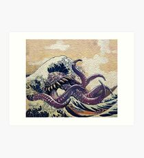 The Great Wave off Octopus War Art Print