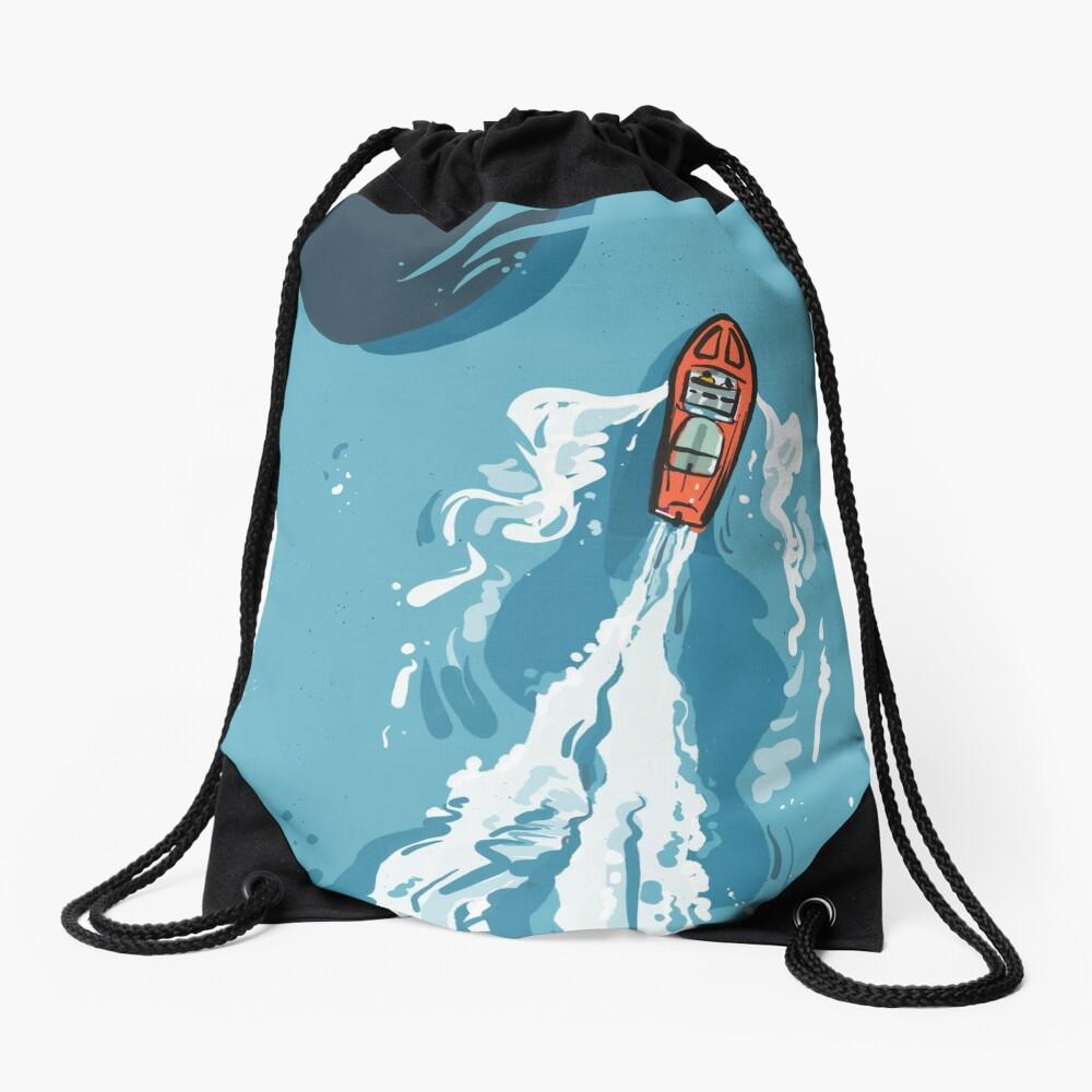 Speed boat | Power boat | motor boat drawing Drawstring Bag