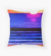 Psychedelic Beach Sunset Throw Pillow